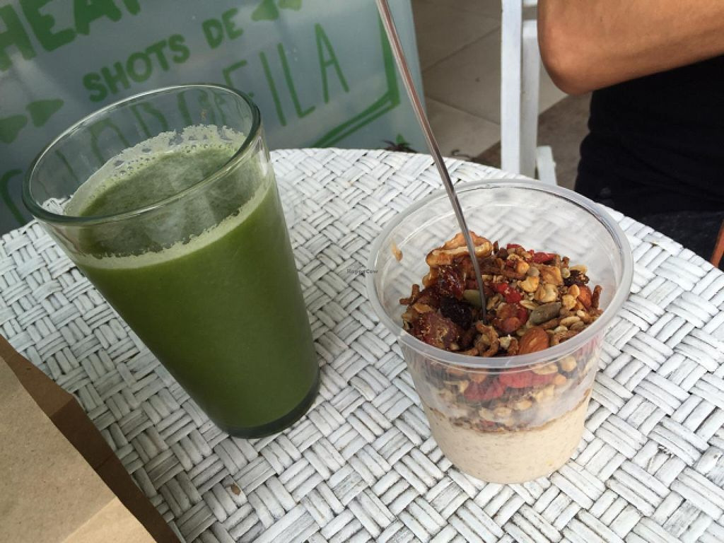 """Photo of Mercado Verde - Jaime Zudanes  by <a href=""""/members/profile/cuckooworld"""">cuckooworld</a> <br/>green vegetable juice and vegan yoghurt <br/> March 3, 2015  - <a href='/contact/abuse/image/52061/94715'>Report</a>"""