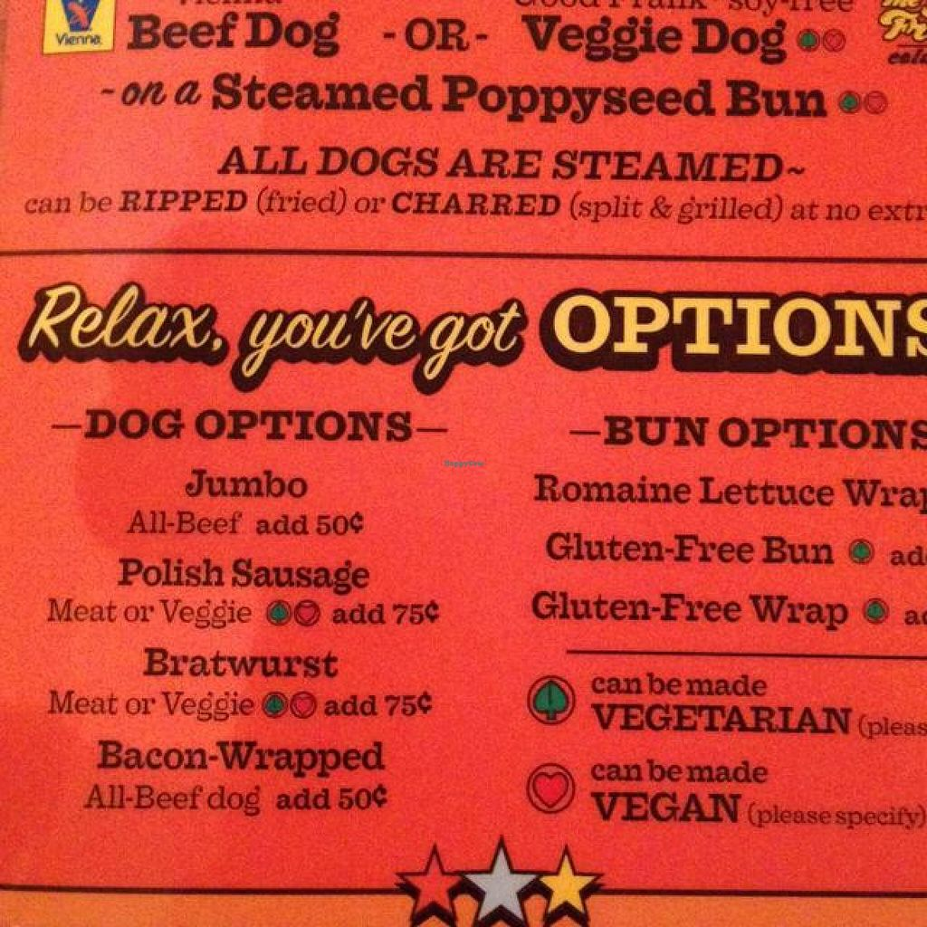 """Photo of CLOSED: Dirty Frank's Hot Dog Palace - W Broad  by <a href=""""/members/profile/vegan_ryan"""">vegan_ryan</a> <br/>menu <br/> October 10, 2014  - <a href='/contact/abuse/image/52126/82602'>Report</a>"""
