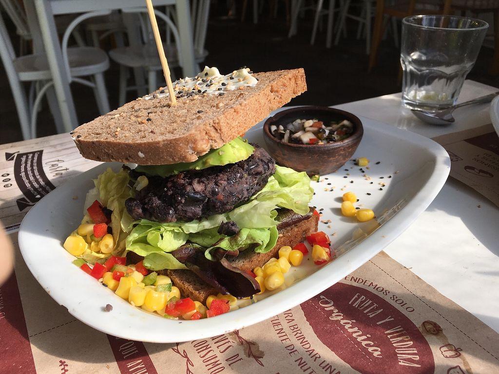 "Photo of Aldea Nativa  by <a href=""/members/profile/peas-full"">peas-full</a> <br/>black bean vegan burger <br/> November 30, 2017  - <a href='/contact/abuse/image/52134/330936'>Report</a>"
