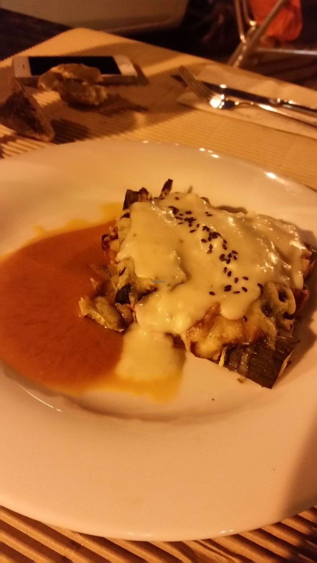 """Photo of Km.0  by <a href=""""/members/profile/nicolenoe"""">nicolenoe</a> <br/>They call it vegan pie but i think it´s lasagna (Bechamel sauce) and it´s really good <br/> July 23, 2016  - <a href='/contact/abuse/image/52139/161779'>Report</a>"""