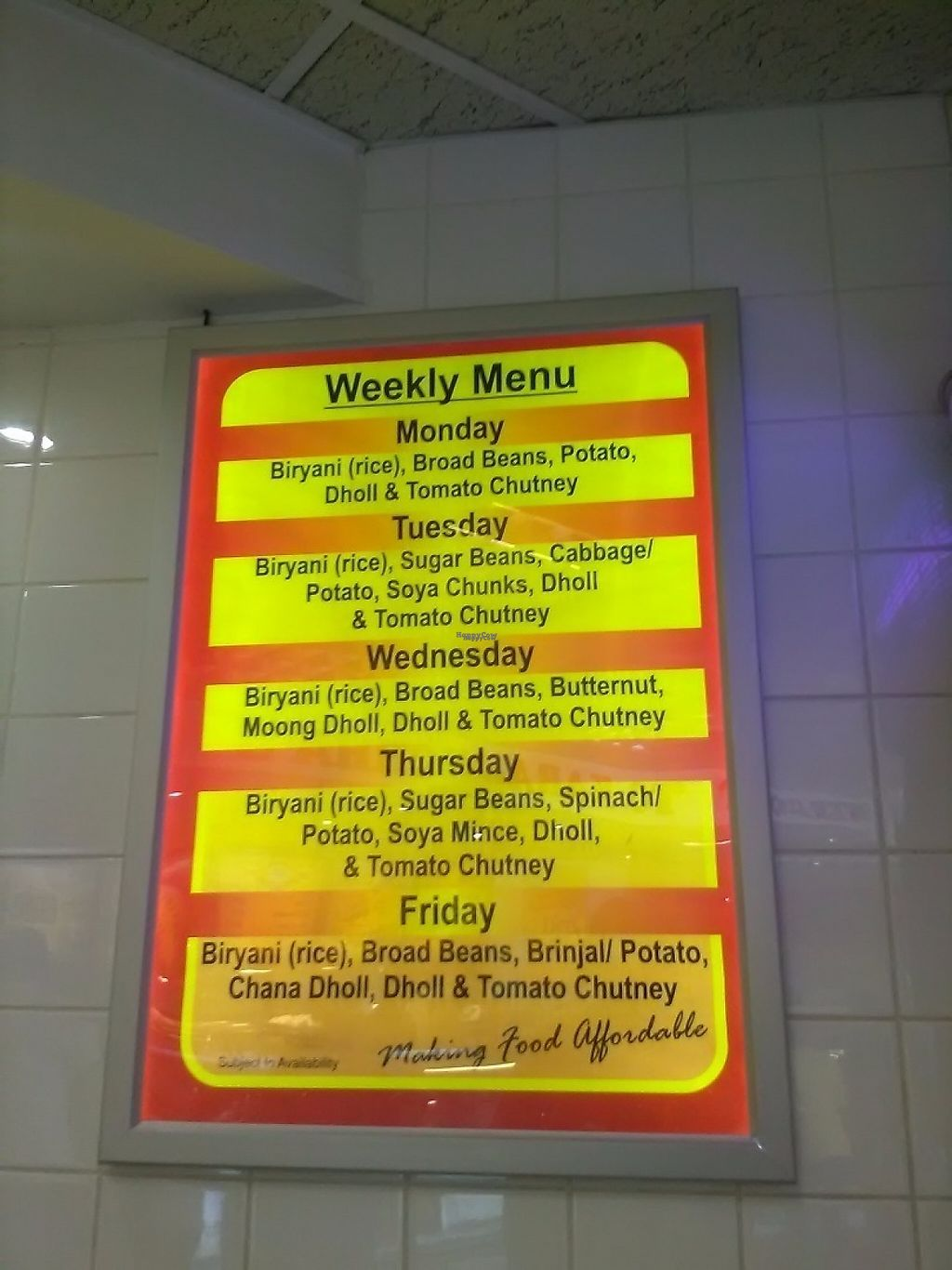 """Photo of Kara Nichha's - Midrand  by <a href=""""/members/profile/Wolfmoon"""">Wolfmoon</a> <br/>Weekly menu <br/> April 2, 2017  - <a href='/contact/abuse/image/52148/244013'>Report</a>"""