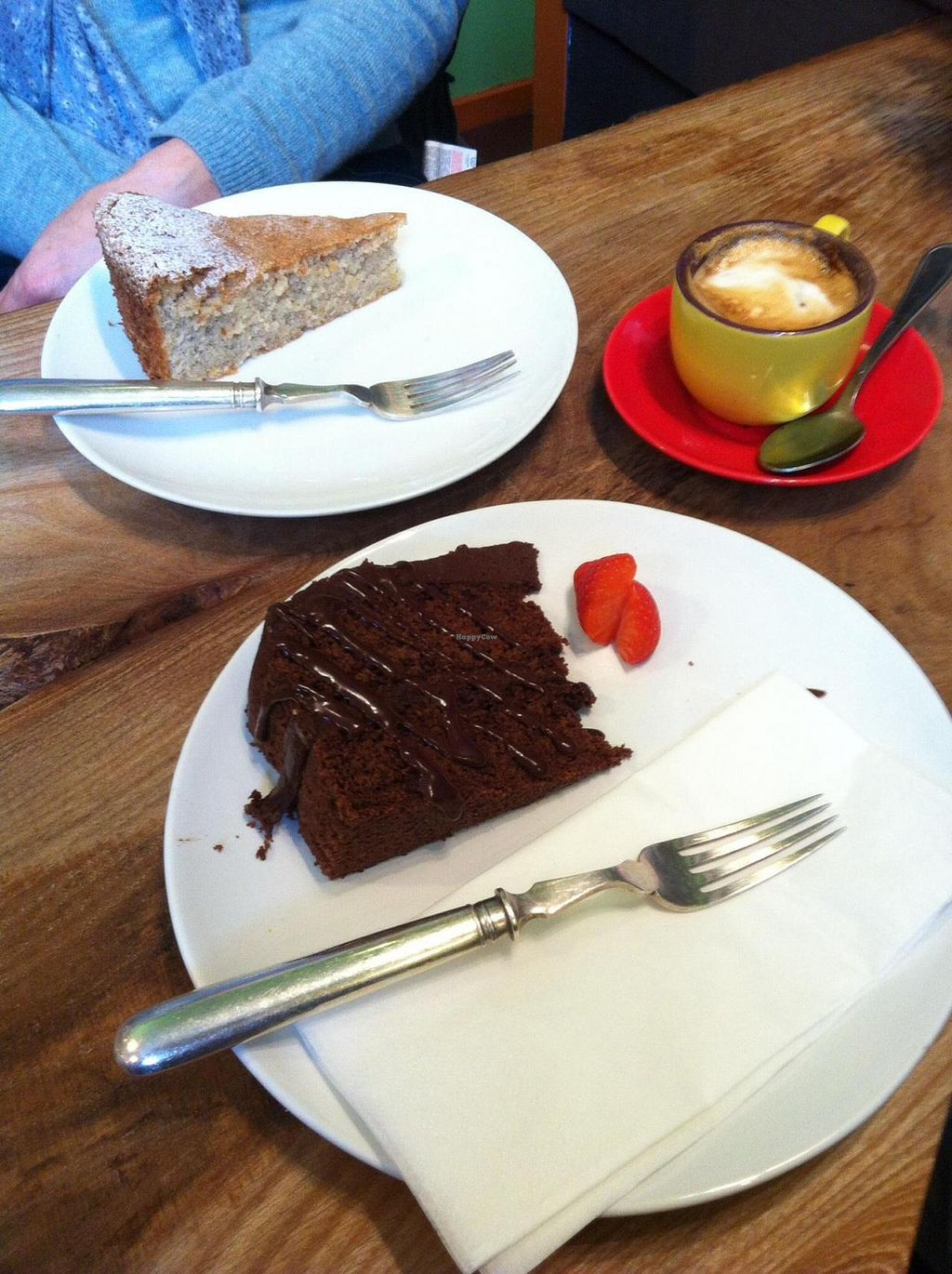 """Photo of CLOSED: The Artisan Lounge  by <a href=""""/members/profile/casualdot"""">casualdot</a> <br/>Almond cake and vegan chocolate Turkish delight cake from the Artisan Lounge <br/> November 20, 2014  - <a href='/contact/abuse/image/52170/86105'>Report</a>"""