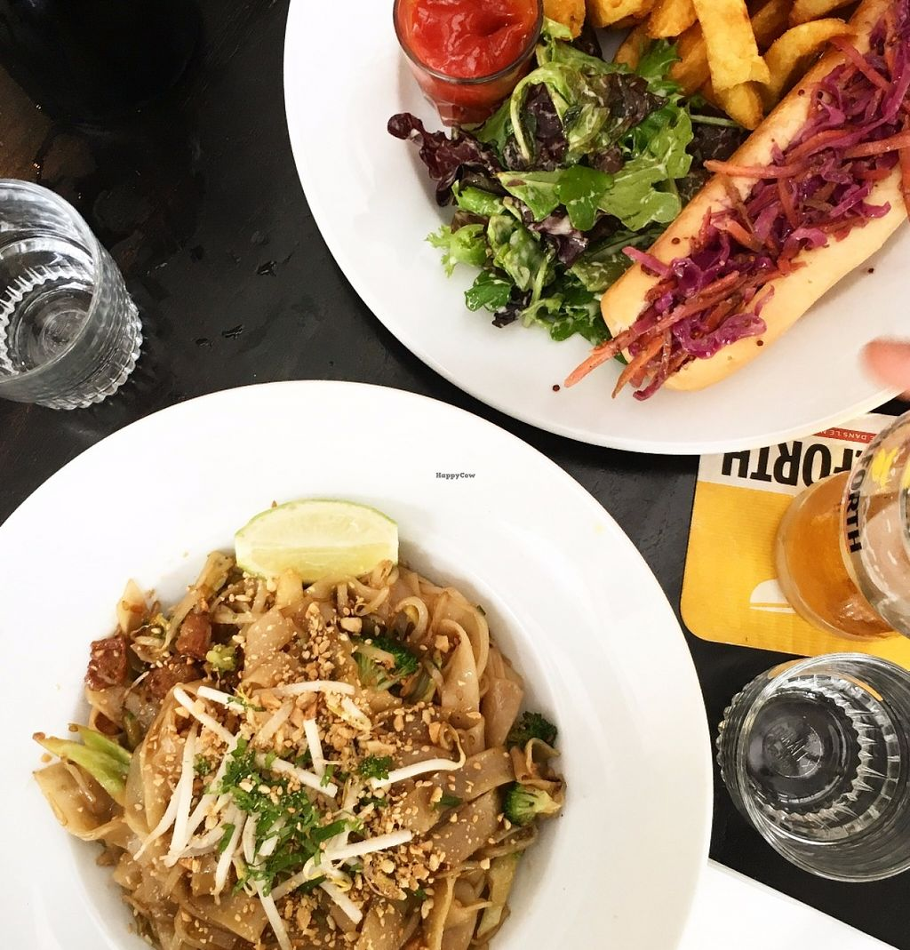 """Photo of CLOSED: Brasserie Lola  by <a href=""""/members/profile/SaraValle"""">SaraValle</a> <br/>Pad thai and hot dog! <br/> July 1, 2016  - <a href='/contact/abuse/image/52172/157200'>Report</a>"""
