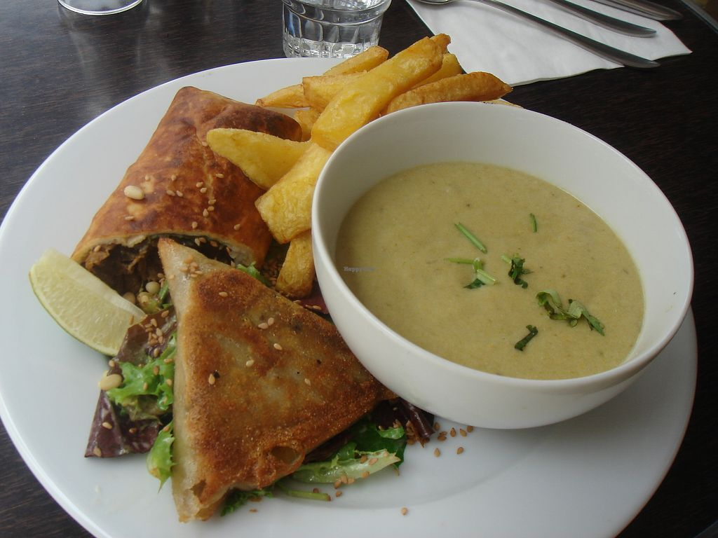 """Photo of CLOSED: Brasserie Lola  by <a href=""""/members/profile/nafanc"""">nafanc</a> <br/>Variety meal with soup, fries, samosa, and sandwich <br/> July 14, 2017  - <a href='/contact/abuse/image/52172/280355'>Report</a>"""