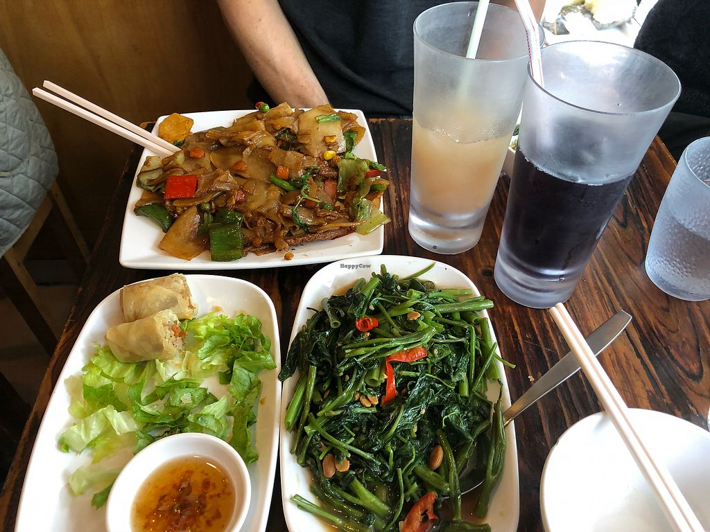 "Photo of Thai Vegetarian Food  by <a href=""/members/profile/HistoricalMarkers"">HistoricalMarkers</a> <br/>Veggie spring rolls, morning glory, and spicy flat noodles <br/> January 21, 2018  - <a href='/contact/abuse/image/52173/349228'>Report</a>"