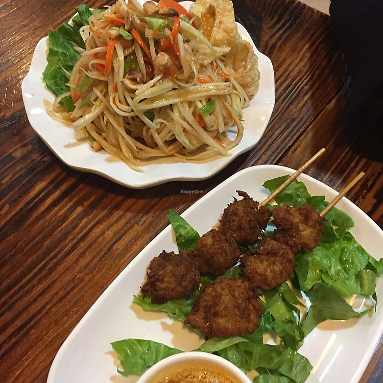 "Photo of Thai Vegetarian Food  by <a href=""/members/profile/Ashni"">Ashni</a> <br/>papaya salad and veggie chicken skewers with peanut sauce  <br/> February 4, 2018  - <a href='/contact/abuse/image/52173/354896'>Report</a>"