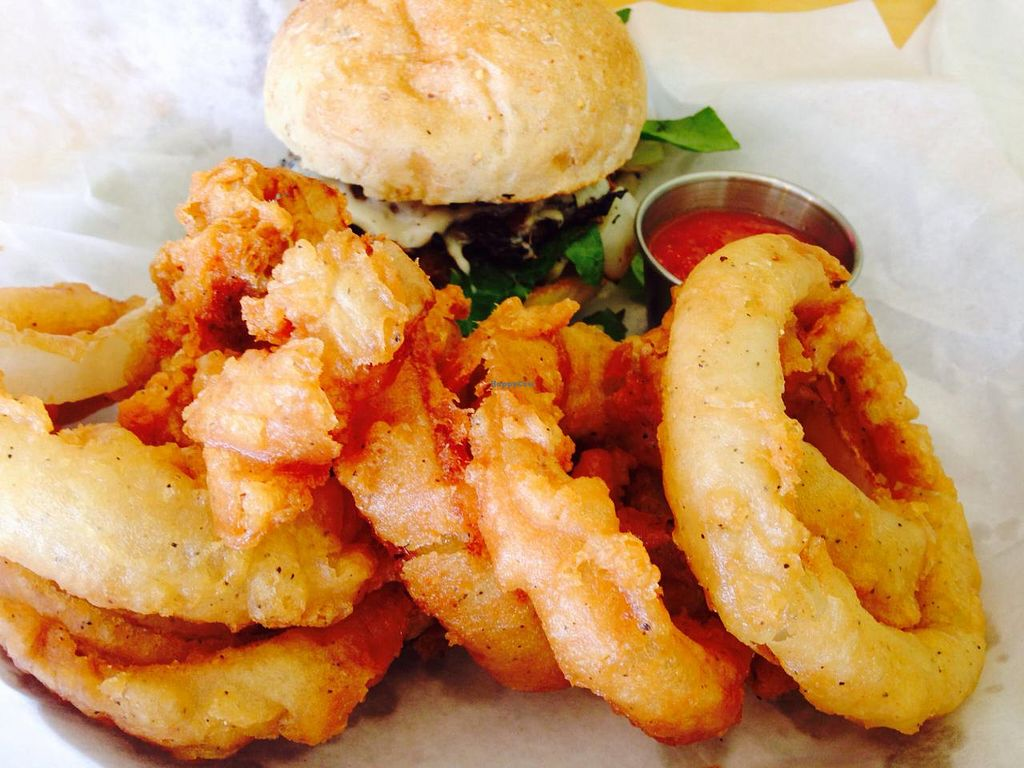 """Photo of Go Vegetarian Restaurant  by <a href=""""/members/profile/calamaestra"""">calamaestra</a> <br/>Portobello mushroom burger and onion rings <br/> May 27, 2015  - <a href='/contact/abuse/image/52205/103585'>Report</a>"""