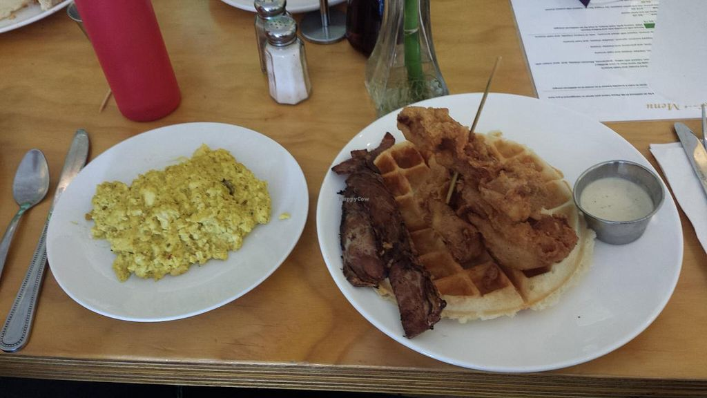 """Photo of Go Vegetarian Restaurant  by <a href=""""/members/profile/Kayz"""">Kayz</a> <br/>All vegan waffle, chicken, bacon and tofu scramble <br/> July 26, 2015  - <a href='/contact/abuse/image/52205/111018'>Report</a>"""