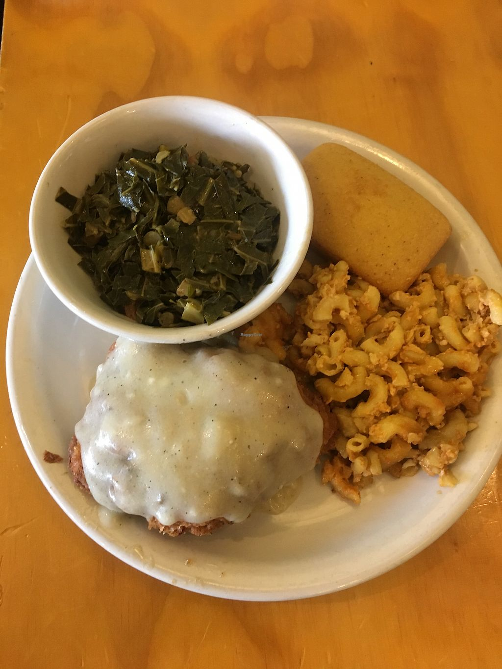 """Photo of Go Vegetarian Restaurant  by <a href=""""/members/profile/CColors"""">CColors</a> <br/>Yum! Smothered fried chicken with gravy and mac n cheese, collard greens and cornbread  <br/> January 30, 2018  - <a href='/contact/abuse/image/52205/352934'>Report</a>"""