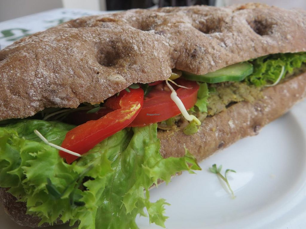 """Photo of Schneider's  by <a href=""""/members/profile/VegiAnna"""">VegiAnna</a> <br/>vegan sandwich with pea pate, lettuce, tomatoes, cucumber, sprouts <br/> October 13, 2014  - <a href='/contact/abuse/image/52223/82858'>Report</a>"""