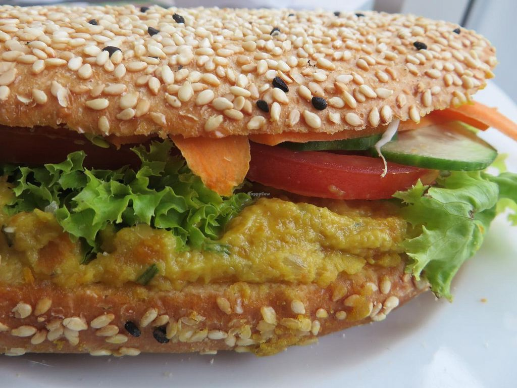 """Photo of Schneider's  by <a href=""""/members/profile/VegiAnna"""">VegiAnna</a> <br/>panini sandwich with chickpea pate, lettuce, tomatoes, cucumber, and carrots <br/> October 13, 2014  - <a href='/contact/abuse/image/52223/82859'>Report</a>"""