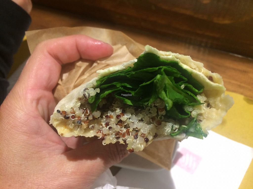 """Photo of Shake Cafe - Degli Avelli  by <a href=""""/members/profile/FatTonyBMX"""">FatTonyBMX</a> <br/>Wrap with hummus, spinach, quinoa, and sun-dried tomatoes. Tasty.  <br/> February 20, 2017  - <a href='/contact/abuse/image/52235/228484'>Report</a>"""