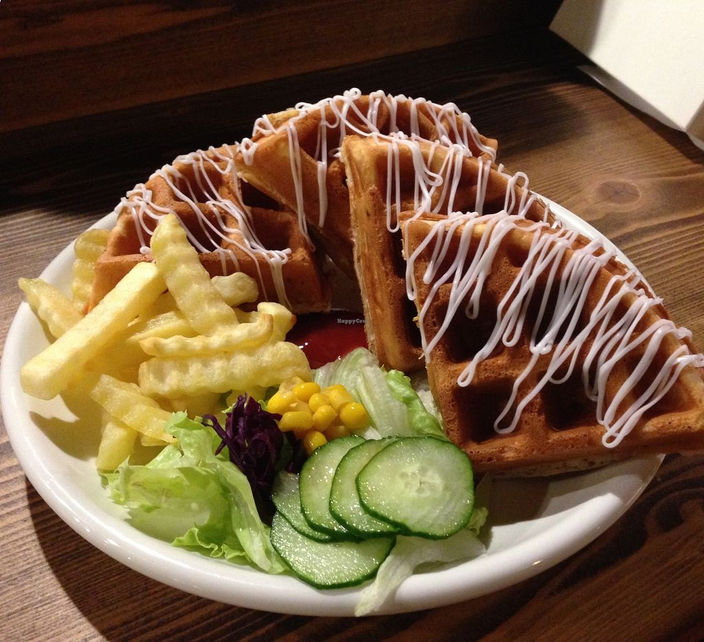 "Photo of Bluesomeone's Vegan Cafe  by <a href=""/members/profile/bluesomeone"">bluesomeone</a> <br/>The vegan bacon waffle <br/> August 24, 2015  - <a href='/contact/abuse/image/52242/114928'>Report</a>"