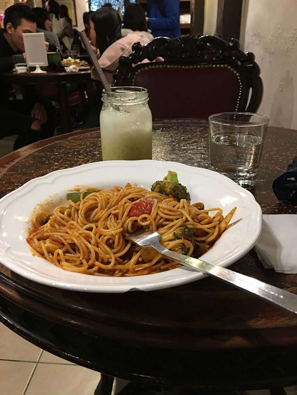 "Photo of Bluesomeone's Vegan Cafe  by <a href=""/members/profile/sweetsubway"">sweetsubway</a> <br/>Tomato pasta and fruit juice :)  <br/> January 6, 2018  - <a href='/contact/abuse/image/52242/343509'>Report</a>"