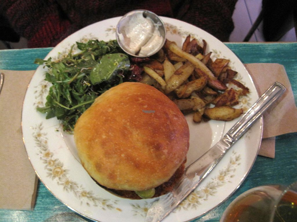 """Photo of Antidote Bouffe Vegane  by <a href=""""/members/profile/Babette"""">Babette</a> <br/>Special of the day. Squash burger with salad, fries and aioli <br/> October 30, 2016  - <a href='/contact/abuse/image/52254/185325'>Report</a>"""