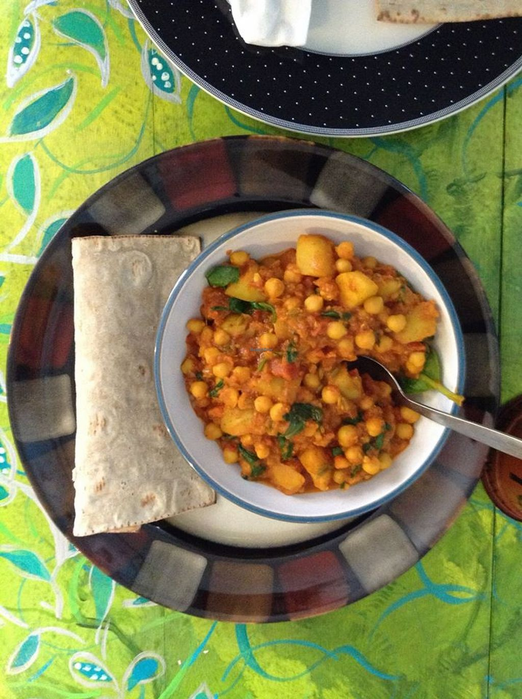 """Photo of Mudlarks Garden Cafe  by <a href=""""/members/profile/marylily2"""">marylily2</a> <br/>Spinach and chickpea curry with a gluten free vegan wrap.  <br/> January 29, 2016  - <a href='/contact/abuse/image/52289/134119'>Report</a>"""