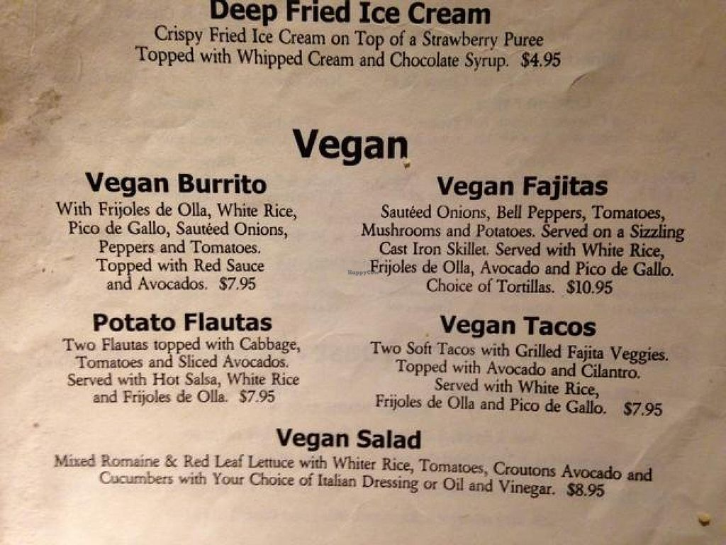 "Photo of Paco's Mexican Restaurant  by <a href=""/members/profile/VeganHappy334"">VeganHappy334</a> <br/>vegan menu <br/> October 16, 2014  - <a href='/contact/abuse/image/52308/83122'>Report</a>"