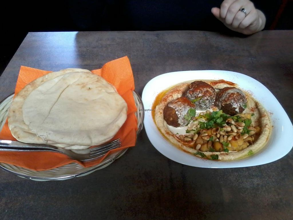 """Photo of Humpit  by <a href=""""/members/profile/deadpledge"""">deadpledge</a> <br/>Classic Hummus Bowl with Falafel and Pitta Bread <br/> May 3, 2015  - <a href='/contact/abuse/image/52364/101020'>Report</a>"""