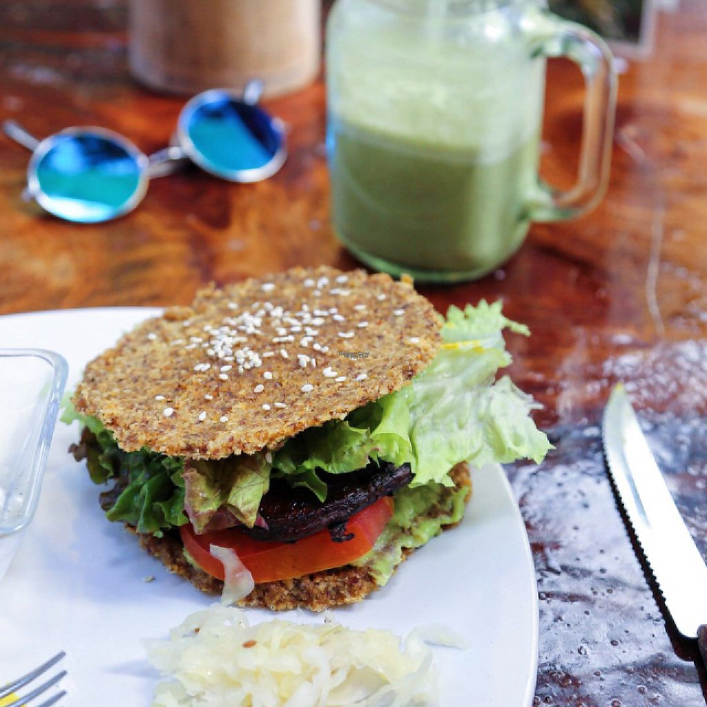 "Photo of Raw Love - Ahau Tulum  by <a href=""/members/profile/Rubysunn"">Rubysunn</a> <br/>yummy mostly raw portobello mushroom burger with sauerkraut, jicama fries and an iced matcha latte made with house made mylk from locally grown coconuts <br/> December 3, 2016  - <a href='/contact/abuse/image/52416/196967'>Report</a>"