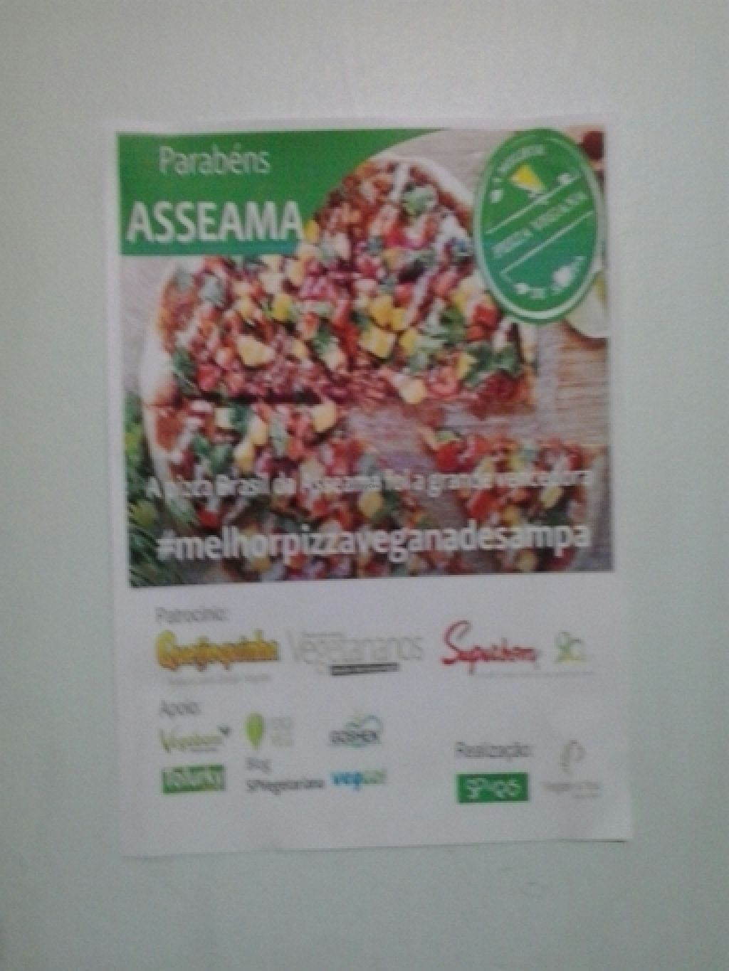 "Photo of CLOSED: Asseama - Tucuruvi  by <a href=""/members/profile/laranjatomate"">laranjatomate</a> <br/>Electes best vegan pizza of Sao Paulo <br/> May 7, 2016  - <a href='/contact/abuse/image/52455/147937'>Report</a>"