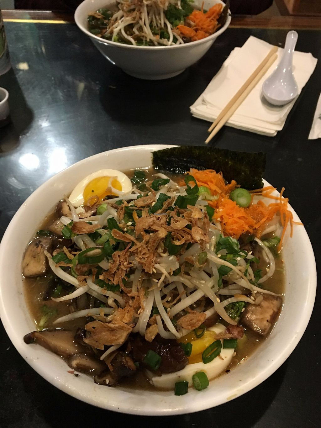 """Photo of Umami Noodle Bar  by <a href=""""/members/profile/sophiefrenchfry"""">sophiefrenchfry</a> <br/>Ramen with vegan broth; you can choose a variety of toppings <br/> November 15, 2017  - <a href='/contact/abuse/image/52479/325949'>Report</a>"""