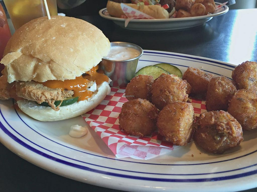 Photo of Palomino Bar  by RamblingVegans <br/>Spicy vegan chicken sandwich with homemade tots & vegan ranch on the side.   <br/> June 3, 2015  - <a href='/contact/abuse/image/5248/104682'>Report</a>