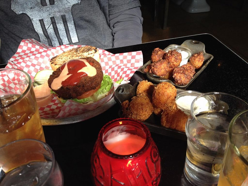 Photo of Palomino Bar  by RamblingVegans <br/>Vegan burger with tots & hush puppies.   <br/> April 1, 2014  - <a href='/contact/abuse/image/5248/66855'>Report</a>