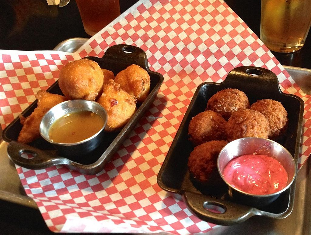 Photo of Palomino Bar  by RamblingVegans <br/>Vegan hush puppies and sweet potato puffs.   <br/> June 7, 2014  - <a href='/contact/abuse/image/5248/71583'>Report</a>