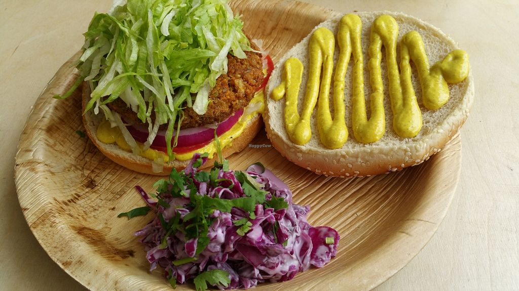 """Photo of Alegria  by <a href=""""/members/profile/Brok%20O.%20Lee"""">Brok O. Lee</a> <br/>Vegan burger with Indian sauces and coleslaw <br/> April 5, 2016  - <a href='/contact/abuse/image/52539/142865'>Report</a>"""
