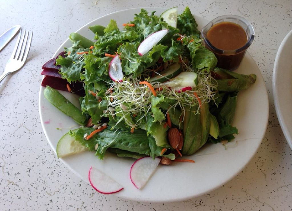 """Photo of Cafe One  by <a href=""""/members/profile/ShantiPeace"""">ShantiPeace</a> <br/>Garden salad <br/> July 8, 2015  - <a href='/contact/abuse/image/52557/108579'>Report</a>"""