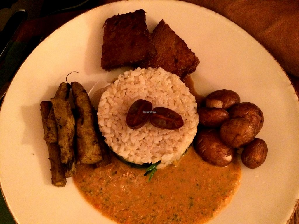 """Photo of Bites and Wines  by <a href=""""/members/profile/LisaCupcake"""">LisaCupcake</a> <br/>Tender pan-roasted seitan, marinated mushrooms, roasted asparagus and garlic spinach with rice and a fantastic tomato-parsley-garlic sauce <br/> October 9, 2015  - <a href='/contact/abuse/image/52562/120680'>Report</a>"""