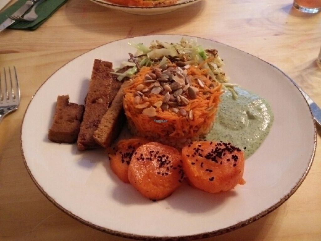 """Photo of Bites and Wines  by <a href=""""/members/profile/Meaks"""">Meaks</a> <br/>Seitan with carrot rice and, erm, carrots <br/> August 8, 2016  - <a href='/contact/abuse/image/52562/166946'>Report</a>"""
