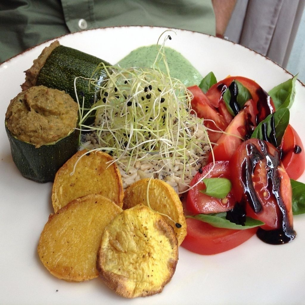 """Photo of Bites and Wines  by <a href=""""/members/profile/WendyVB"""">WendyVB</a> <br/>Filled courgette with baked potato and salad <br/> April 19, 2017  - <a href='/contact/abuse/image/52562/250023'>Report</a>"""