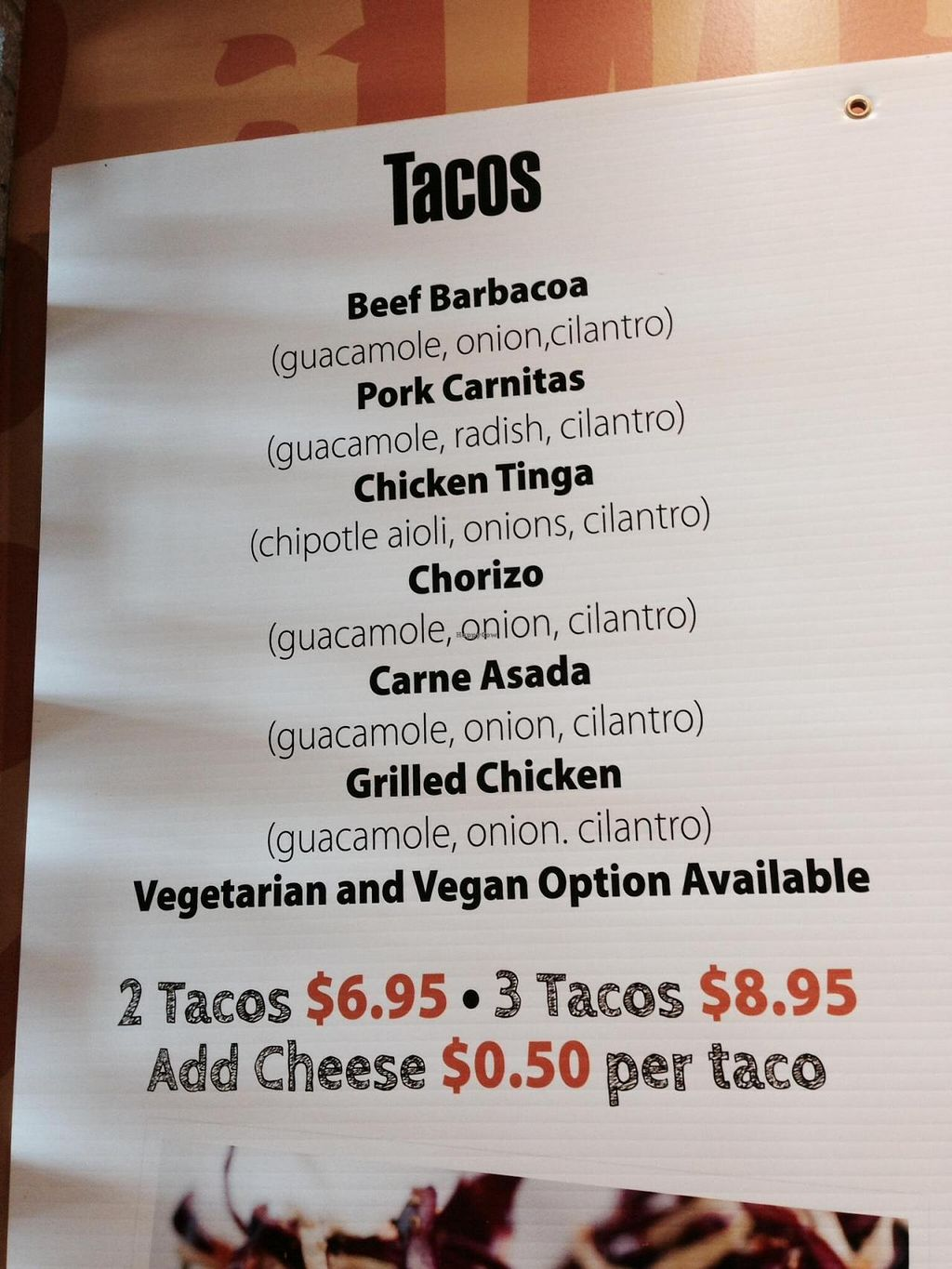 """Photo of CLOSED: Gourmet Gringos  by <a href=""""/members/profile/Gracem"""">Gracem</a> <br/>Taco menu <br/> November 4, 2014  - <a href='/contact/abuse/image/52565/84715'>Report</a>"""