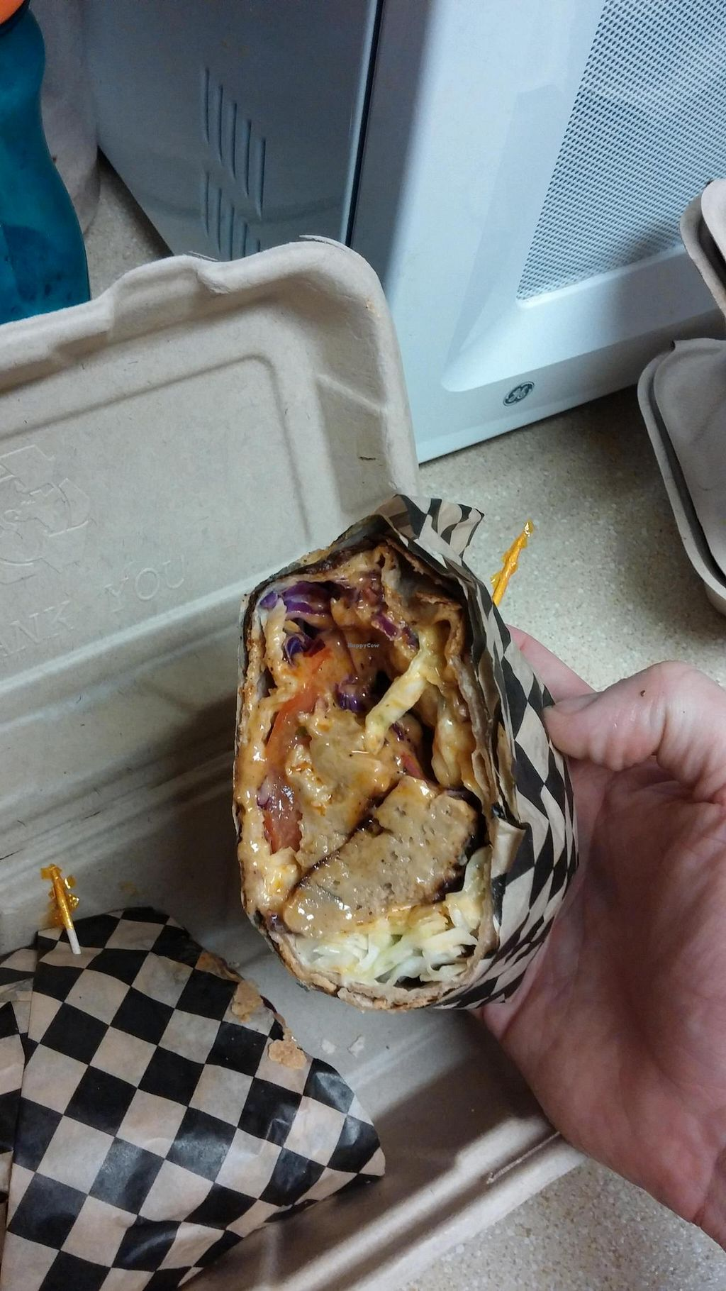 """Photo of CLOSED: No Bones About It - Food Truck  by <a href=""""/members/profile/happytheclown37"""">happytheclown37</a> <br/> Coconut Buffalo Seitan Wrap <br/> November 16, 2014  - <a href='/contact/abuse/image/52569/85885'>Report</a>"""