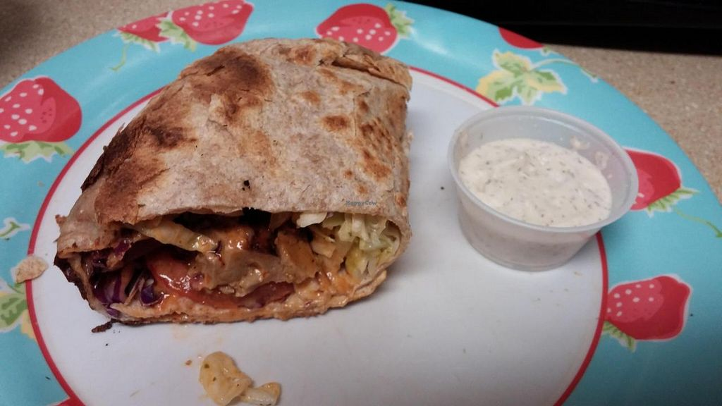 """Photo of CLOSED: No Bones About It - Food Truck  by <a href=""""/members/profile/happytheclown37"""">happytheclown37</a> <br/> Coconut Buffalo Seitan Wrap <br/> November 16, 2014  - <a href='/contact/abuse/image/52569/85886'>Report</a>"""
