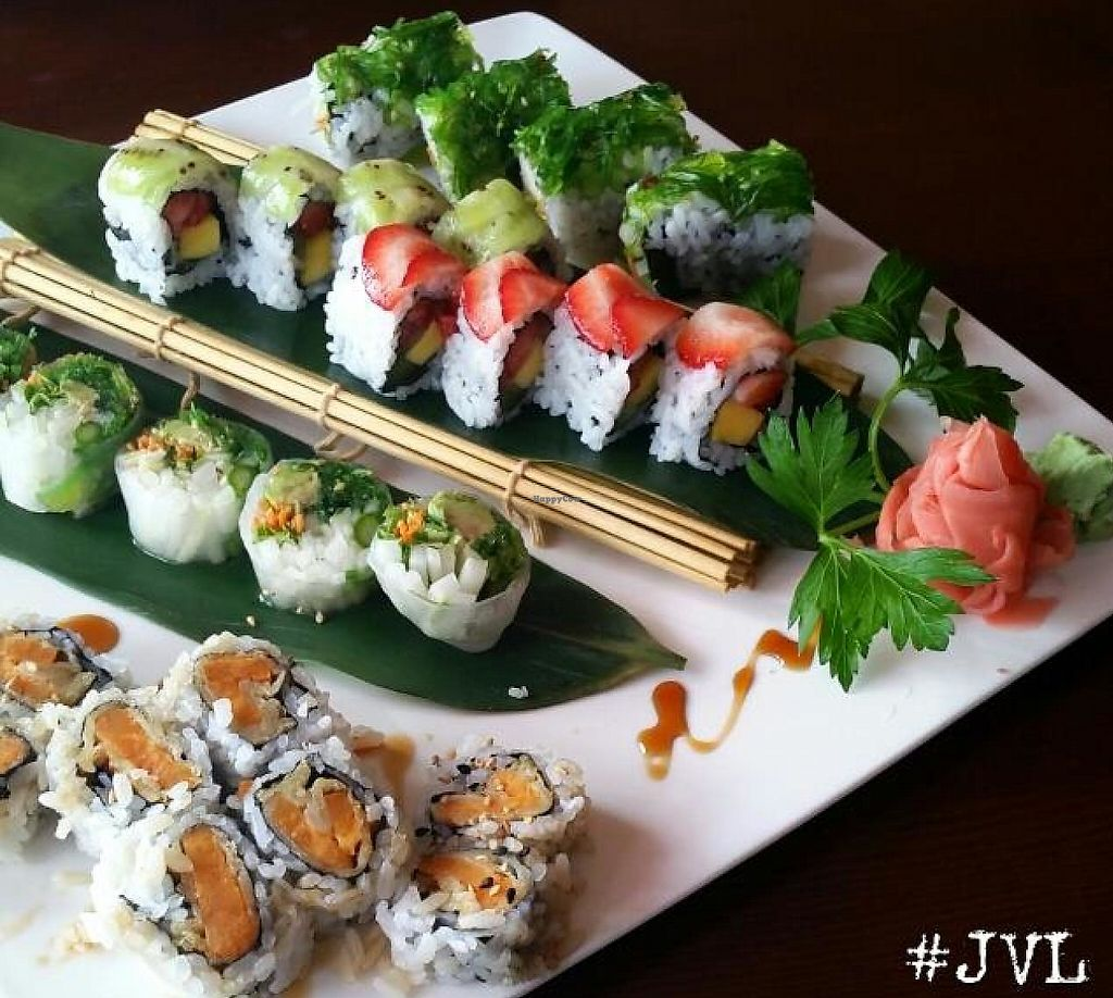 "Photo of Sushiko  by <a href=""/members/profile/JessinJax"">JessinJax</a> <br/>Vegan sushi from Sushiko, Sweet Potato, Icy Veggie, Fruit Roll and Seaweed Salad Farm Roll, all vegan! <br/> November 7, 2014  - <a href='/contact/abuse/image/52587/196169'>Report</a>"