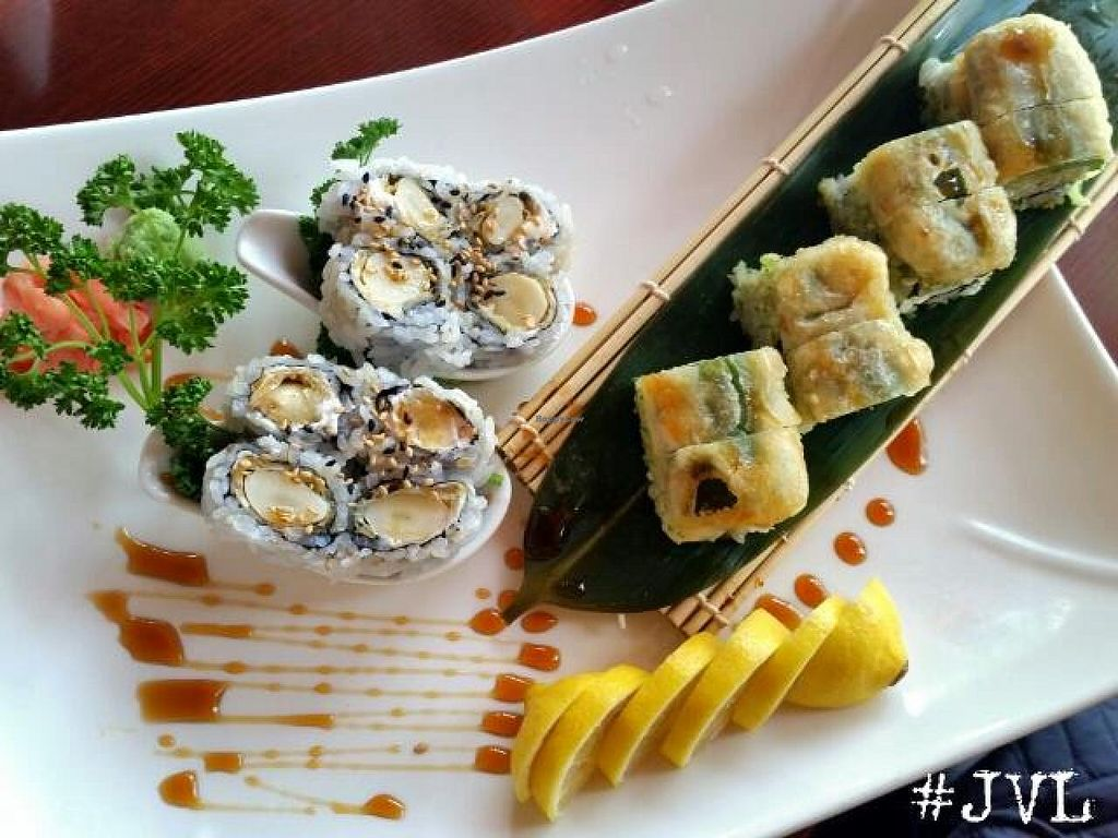 "Photo of Sushiko  by <a href=""/members/profile/JessinJax"">JessinJax</a> <br/>Garlic Roll and Wasabi Peas roll from Sushiko, both vegan <br/> November 7, 2014  - <a href='/contact/abuse/image/52587/84941'>Report</a>"