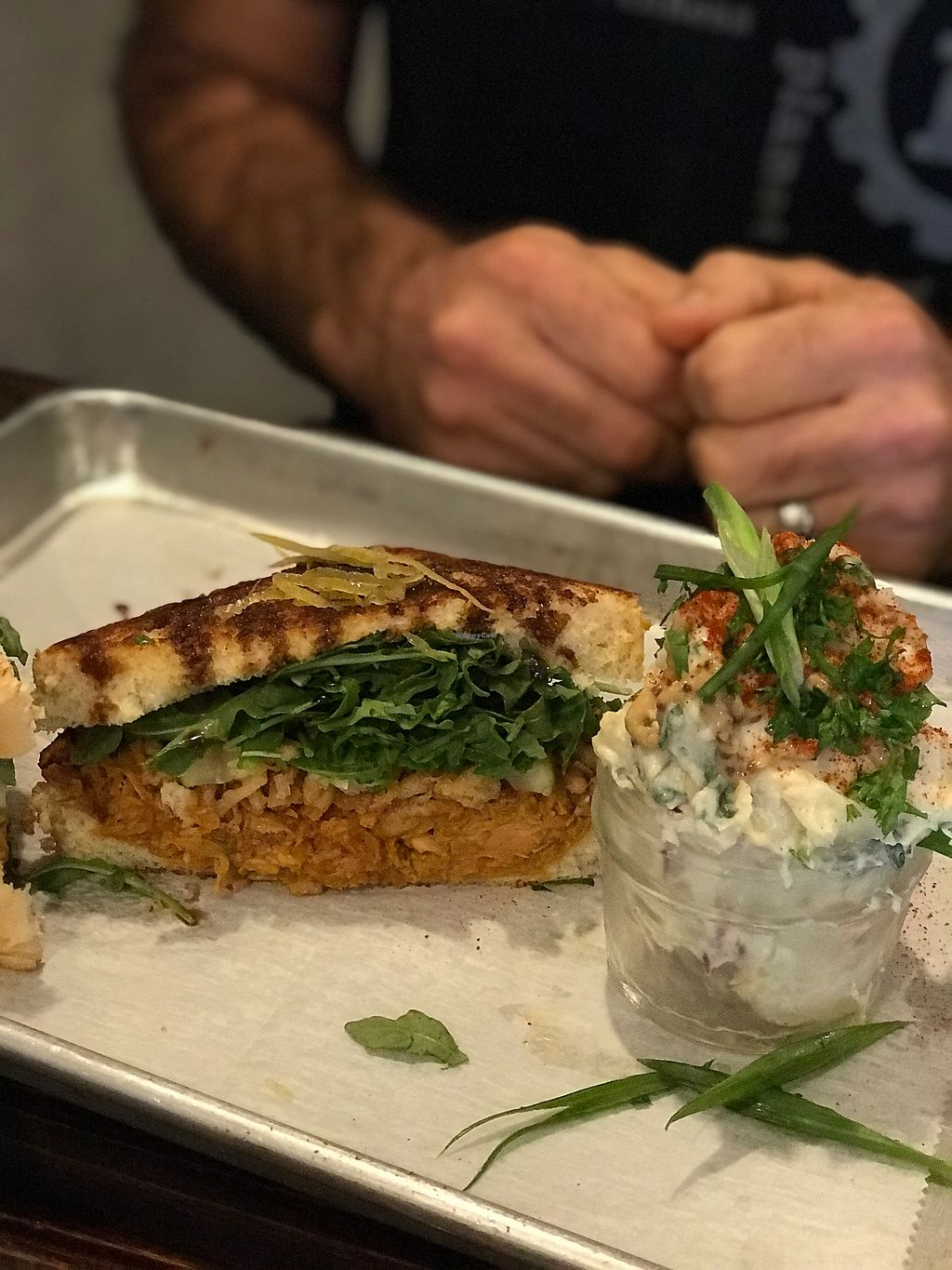 """Photo of Dixie Dharma - Market on South  by <a href=""""/members/profile/LouAnneLay"""">LouAnneLay</a> <br/>Pulled Jackfruit Sandwich with potato salad - amazing! <br/> October 29, 2017  - <a href='/contact/abuse/image/52602/319662'>Report</a>"""