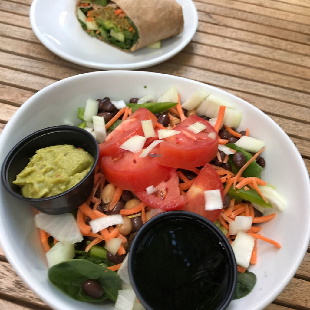 """Photo of Green Cup Cafe  by <a href=""""/members/profile/KWood"""">KWood</a> <br/>Rice Bowl (subbed quinoa for rice) & Garden Burger Wrap <br/> April 9, 2017  - <a href='/contact/abuse/image/52621/246258'>Report</a>"""