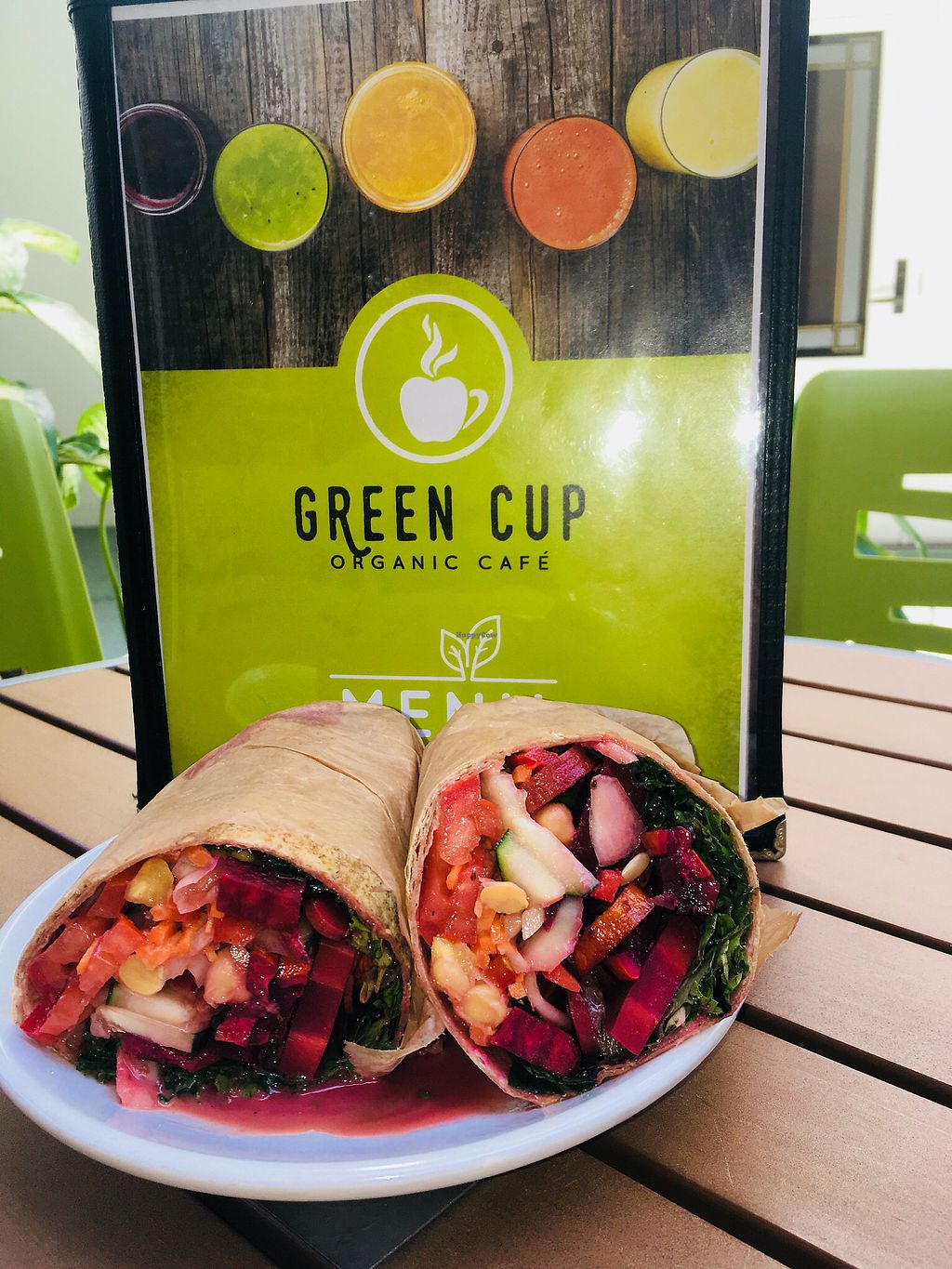 """Photo of Green Cup Cafe  by <a href=""""/members/profile/EBercaw"""">EBercaw</a> <br/>Delicious raw vegan wrap <br/> April 15, 2018  - <a href='/contact/abuse/image/52621/386360'>Report</a>"""