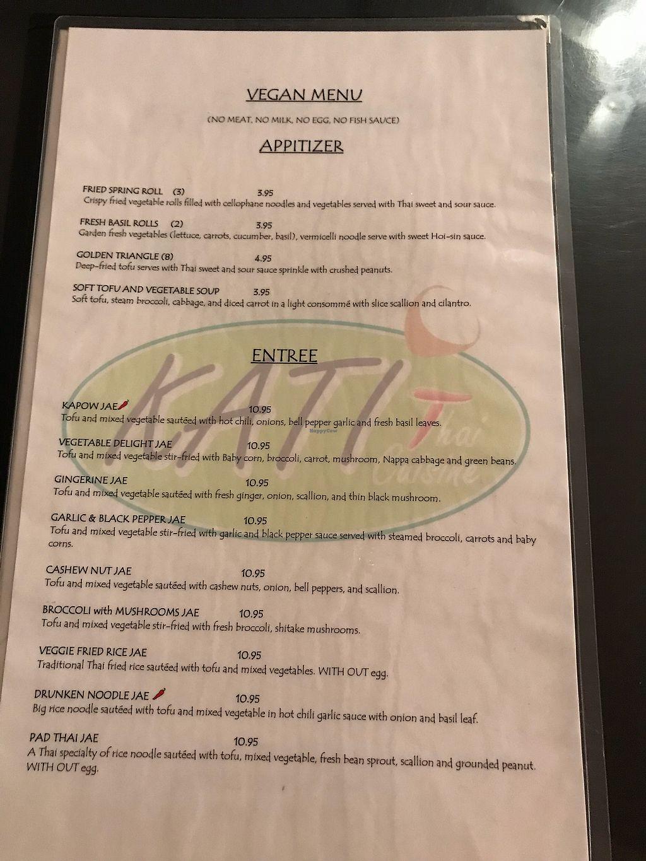 "Photo of Kati Thai Cuisine  by <a href=""/members/profile/skipperkt"">skipperkt</a> <br/>Vegan menu <br/> March 31, 2018  - <a href='/contact/abuse/image/52641/378848'>Report</a>"
