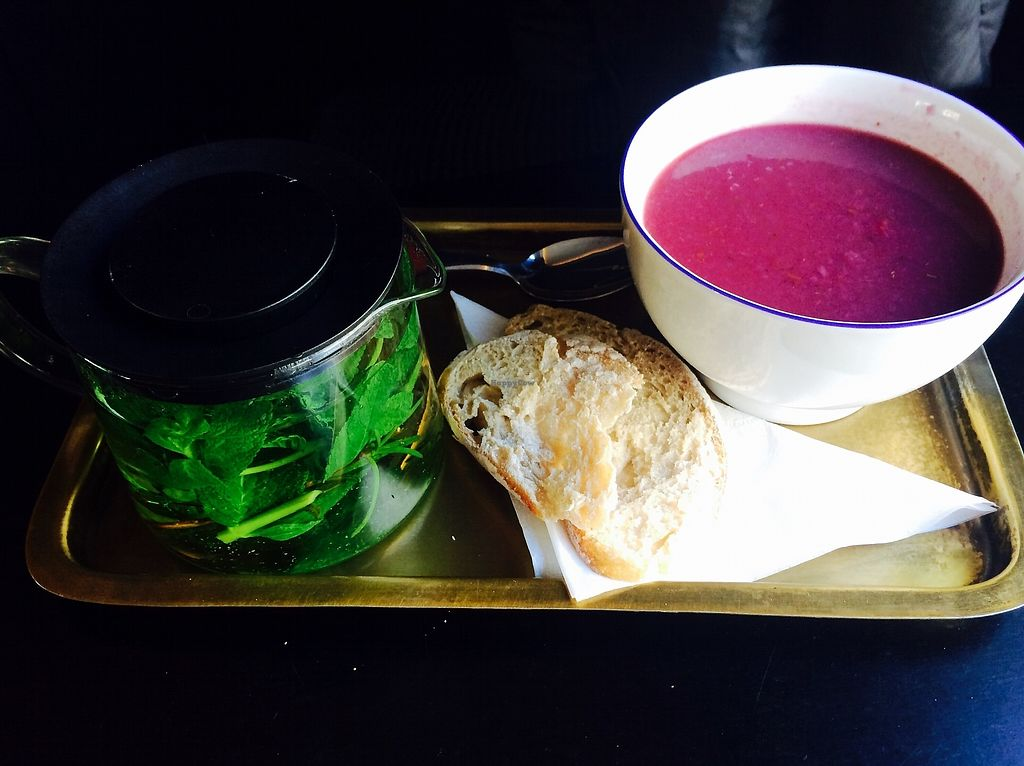 "Photo of Centrifuge  by <a href=""/members/profile/coconad"">coconad</a> <br/>Delicious Red Cabbage Soup (fully vegan upon request) + Fresh Mint/Rosemary Tea <br/> March 1, 2018  - <a href='/contact/abuse/image/52649/365343'>Report</a>"