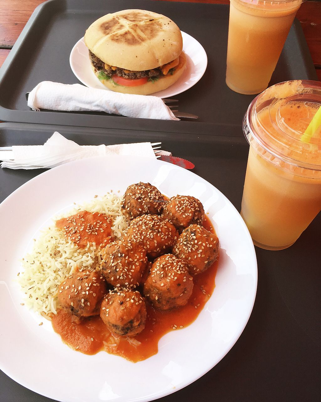 """Photo of K-Vegan  by <a href=""""/members/profile/Halat"""">Halat</a> <br/>lentil burger and """"meatballs"""" <br/> July 21, 2017  - <a href='/contact/abuse/image/52654/282850'>Report</a>"""