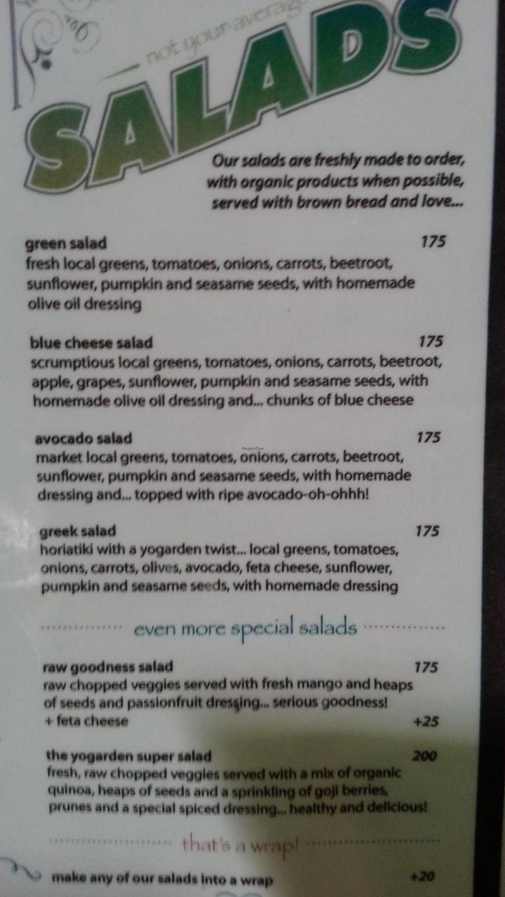 """Photo of The Yogarden  by <a href=""""/members/profile/eric"""">eric</a> <br/>salad menu <br/> November 14, 2014  - <a href='/contact/abuse/image/52696/85570'>Report</a>"""
