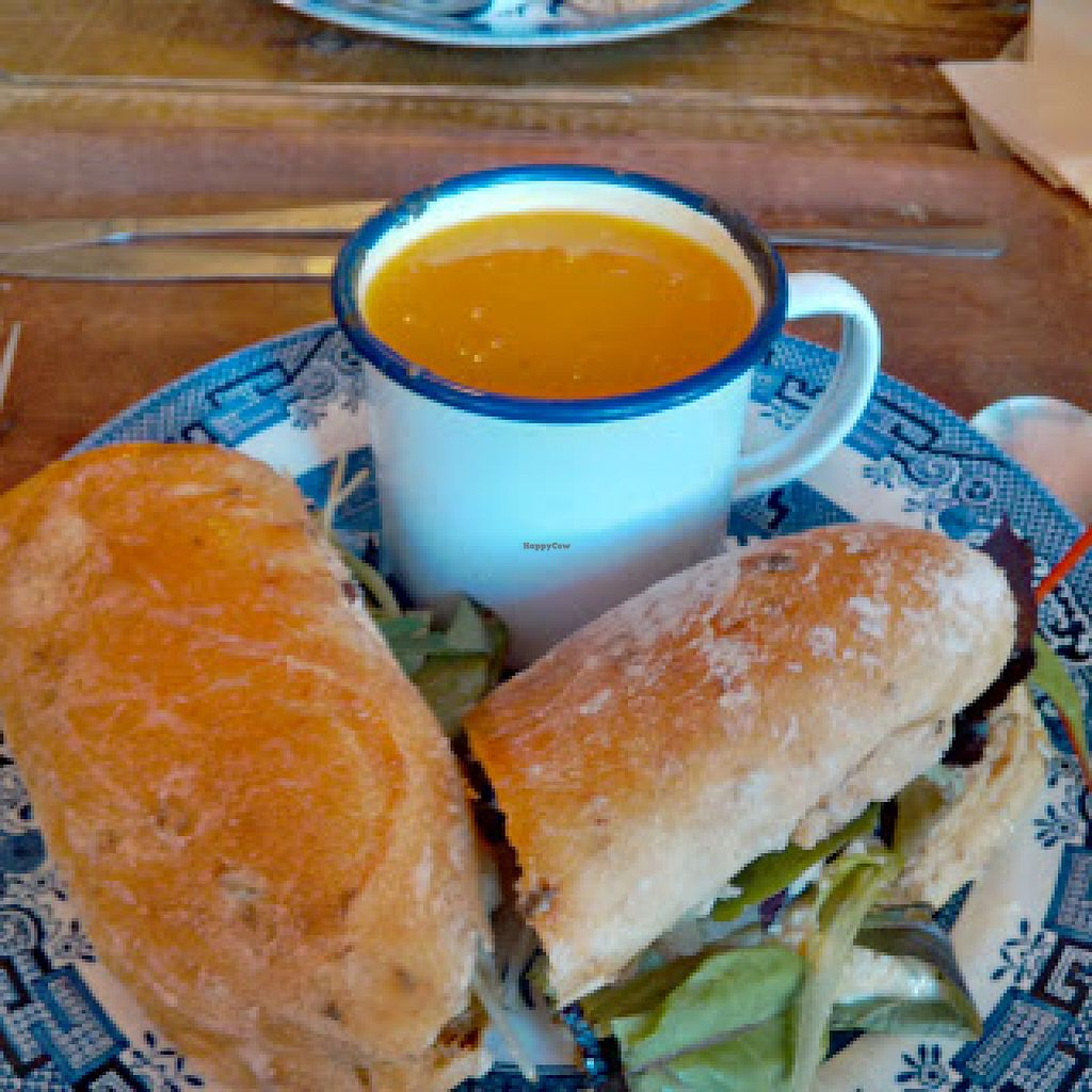 """Photo of Soup Kitchen  by <a href=""""/members/profile/Veganolive1"""">Veganolive1</a> <br/>Roast vegetable and houmous sandwich and butternut squash & kale soup <br/> June 20, 2016  - <a href='/contact/abuse/image/52805/155170'>Report</a>"""