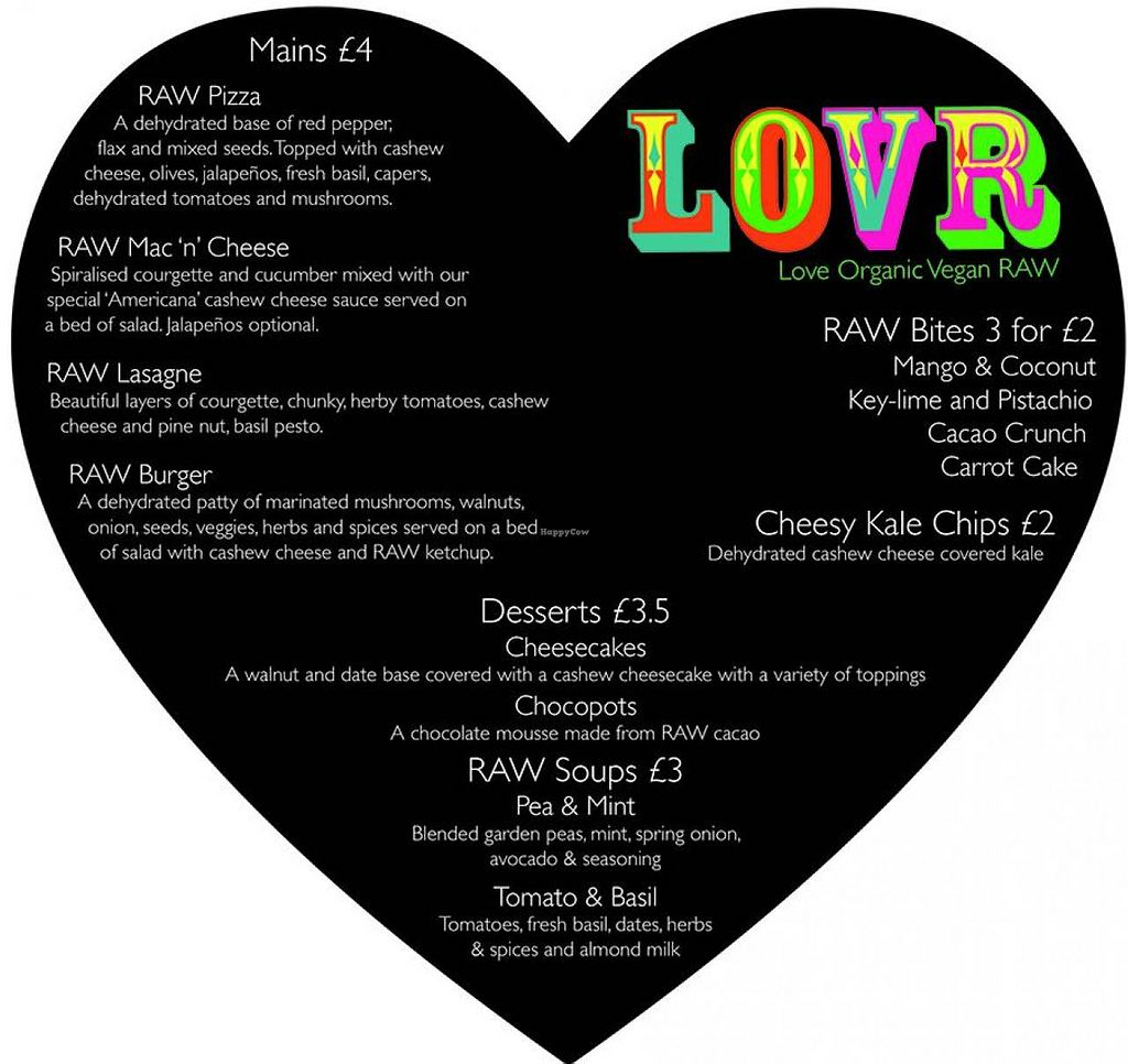 """Photo of CLOSED: LOVR  by <a href=""""/members/profile/VanessaHiggins"""">VanessaHiggins</a> <br/>The LOVR food menu <br/> November 6, 2014  - <a href='/contact/abuse/image/52812/84844'>Report</a>"""