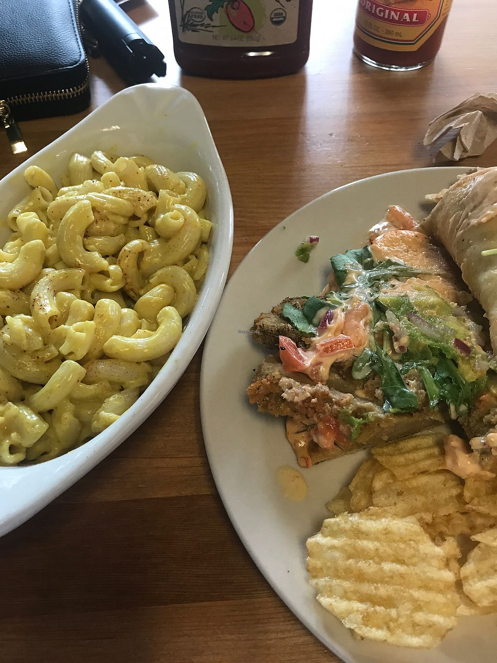 """Photo of Killer Vegan  by <a href=""""/members/profile/Pure"""">Pure</a> <br/>""""Chik-in"""" panini , chips , mac n cheese <br/> September 15, 2017  - <a href='/contact/abuse/image/52819/304555'>Report</a>"""