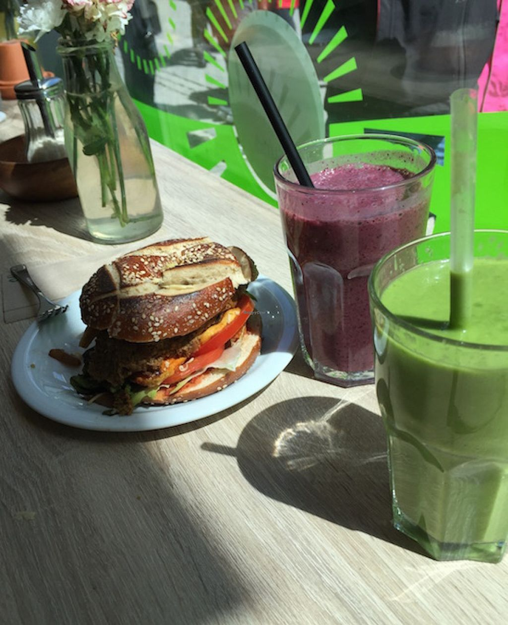 """Photo of CLOSED: Goodies  by <a href=""""/members/profile/Shel%20Graves"""">Shel Graves</a> <br/>Bagel sandwich and smoothies <br/> May 22, 2016  - <a href='/contact/abuse/image/52829/150279'>Report</a>"""