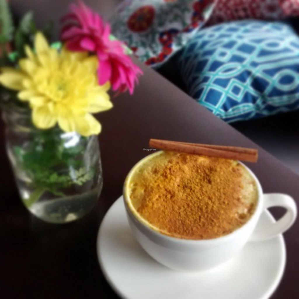 """Photo of Roni's Kitchen  by <a href=""""/members/profile/RonisKitchen"""">RonisKitchen</a> <br/>Golden milk: steamed almond milk, turmeric, cinnamon and honey <br/> July 8, 2015  - <a href='/contact/abuse/image/52840/108589'>Report</a>"""